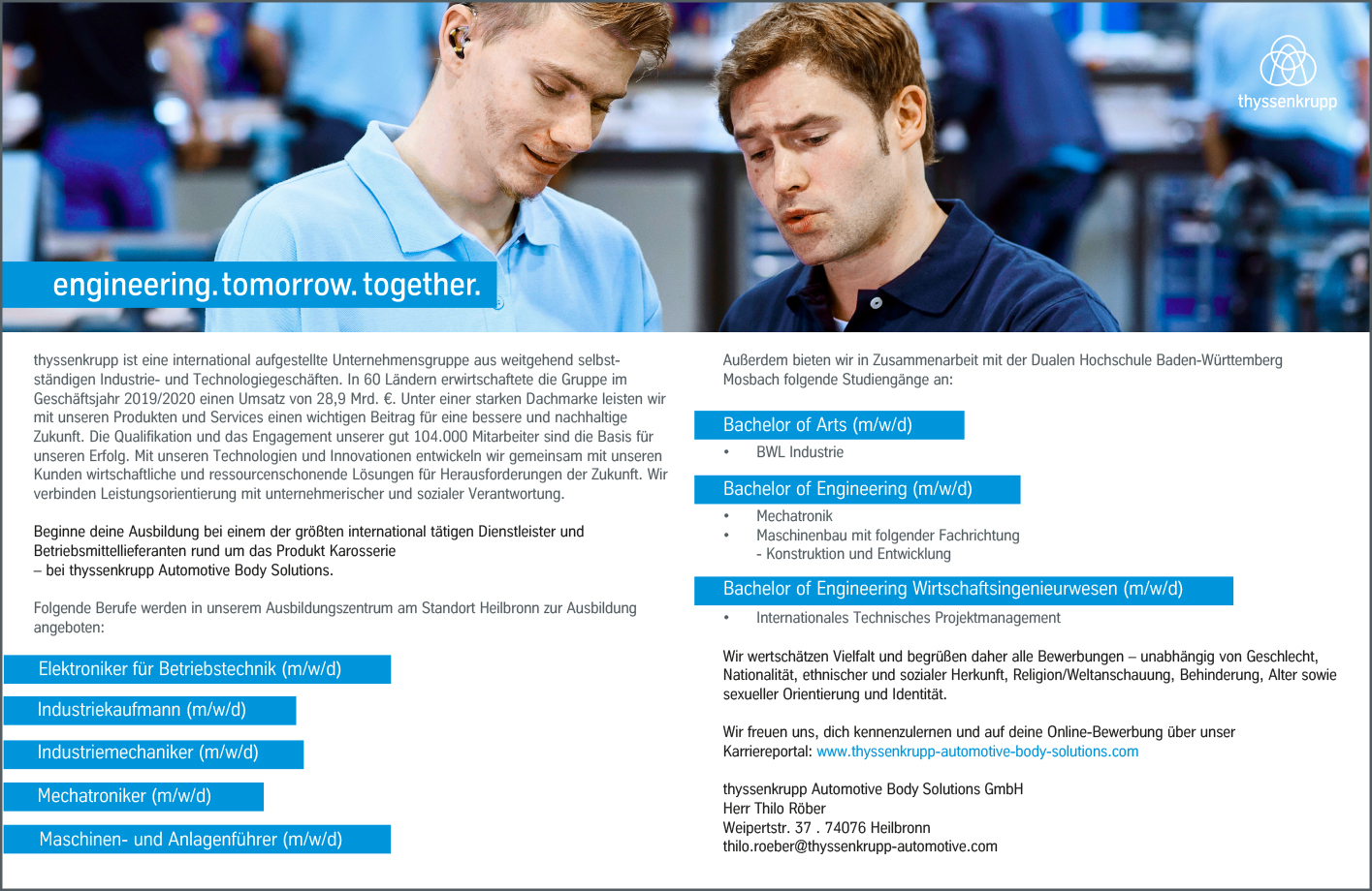 Thyssenkrupp System Engineering Gmbh Bachelor Of Engineering